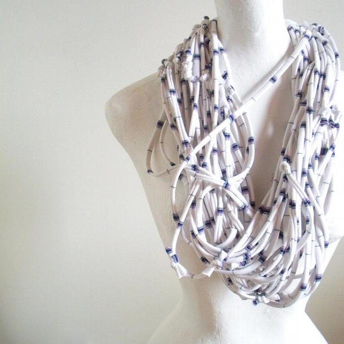 White Infinity Scarf Recycled Clothing Navy Blue Lavender Nautical Stripes Cowl