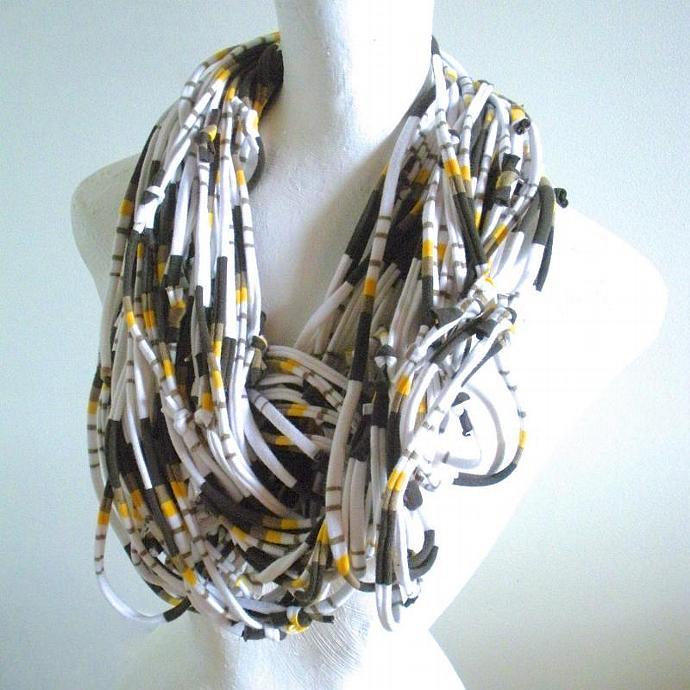 White Infinity Scarf Carafe Brown Honey Gold Stripes Pantone Fall Fashion Retro