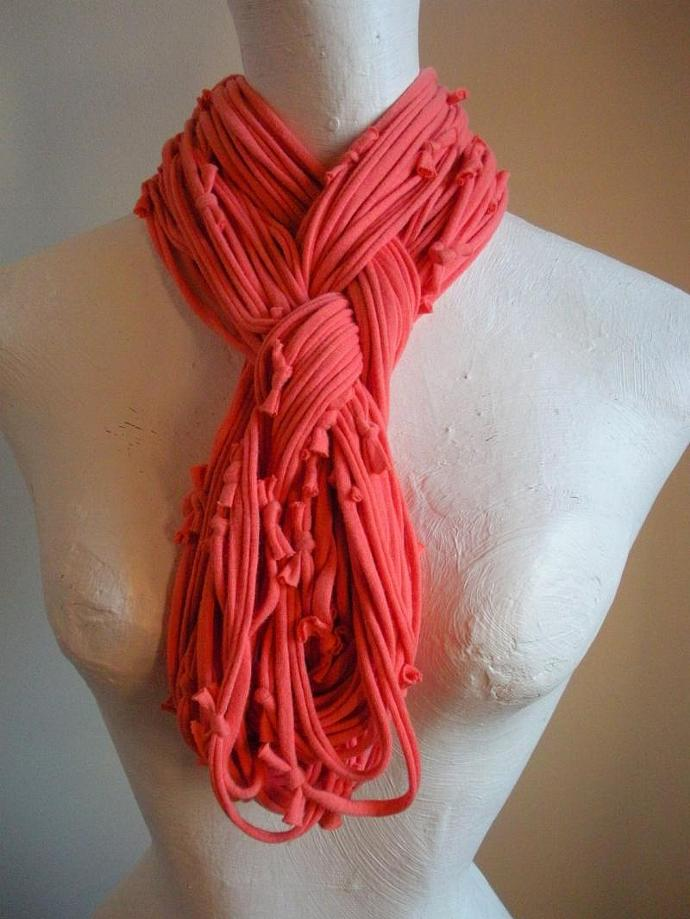 Womens Coral Infinity Scarf Salmon Pink Circle Scarf Upcycled Clothing Peach