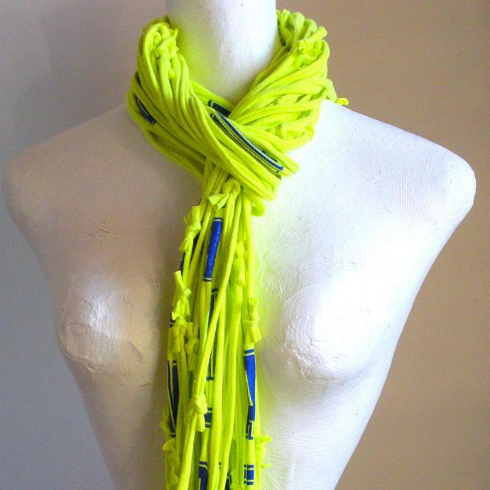 Neon Yellow Infinity Scarf Upcycled Clothing Bright Colored Electric Blue Print
