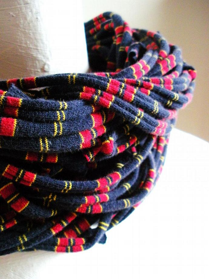 Navy Blue Infinity Scarf Eco Friendly Red Yellow Nautical Stripes Mens Circle