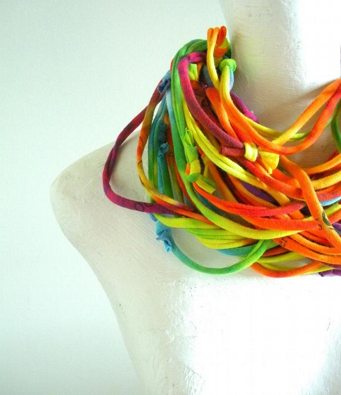 Rainbow Infinity Scarf Fall Fashion Multicolor Pride Loop Scarf Hand Dyed Eco
