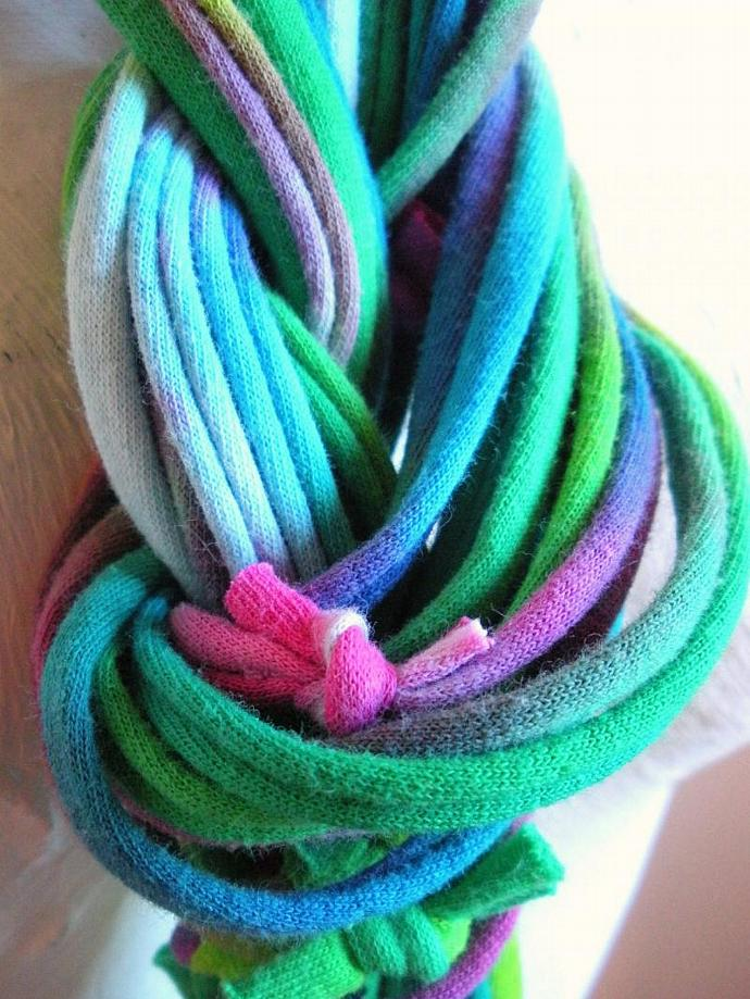 Emerald Jewel Tone Infinity Scarf Necklace Green Violet Blue Hand Dyed Loop