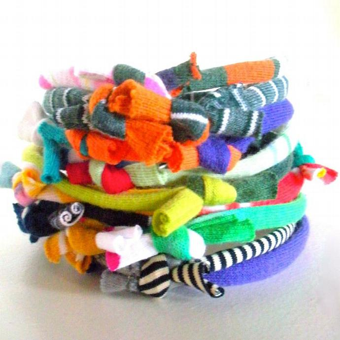 Eco Friendly Multicolor Fiber Bracelet Stack Upcycled Hand Knotted Tribal Cuff