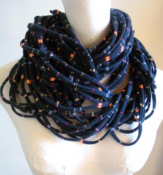 Navy Blue Infinity Scarf Sapphire Multicolor Stripes Chunky Cowl Scarf Womens