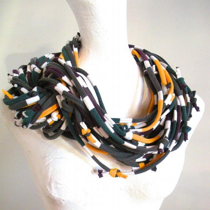 Turbulence Gray Chunky Multicolor Striped Infinity Scarf Pantone Fall Fashion