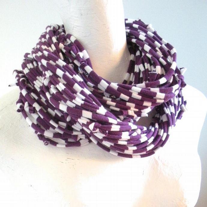Acai Purple White Striped Infinity Scarf Plum Fall Fashion Upcycled Chunky Cowl