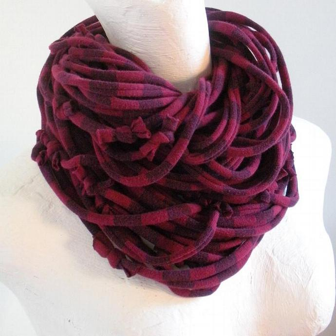 Beaujolais Striped Infinity Scarf Pantone Fall fashion Color Maroon Recycled