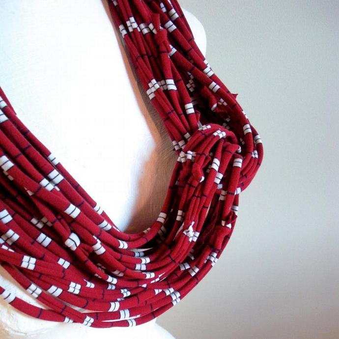 Beaujolais Red Infinity Scarf Pantone Fall Fashion Color White Navy Stripes