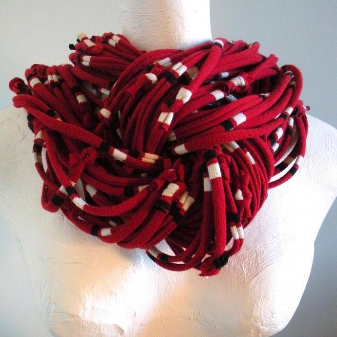 Deep Samba Red Infinity Scarf Pantone Fall Fashion Color Chunky Scarf Black