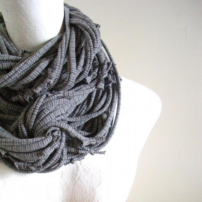 Steampunk Turbulence Gray Striped Infinity Scarf Pantone Fall Fashion Dark Gray
