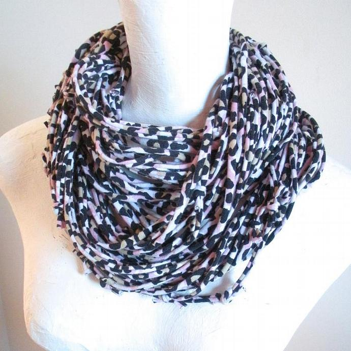 Leopard Print Infinity Scarf Upcycled Clothing Fall Fashion Black Tan Pink