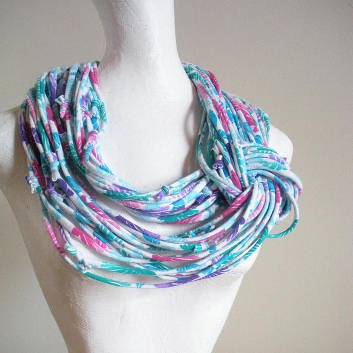 Womens Fall Fashion Bright Tropical Print Infinity Scarf Blue Green Pink Purple