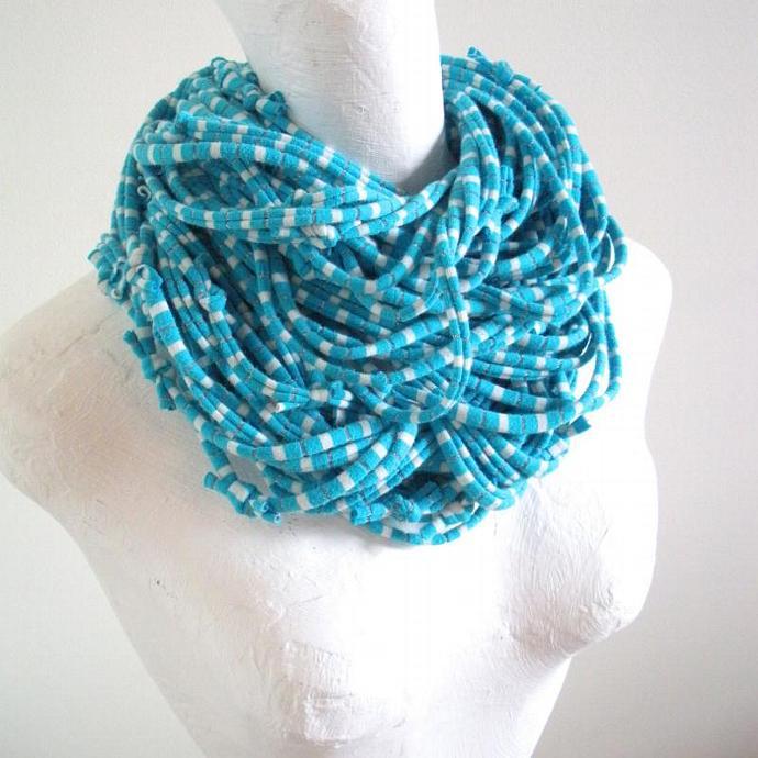 Turquoise Blue Infinity Scarf White Silver Metallic Stripes Upcycled Fashion