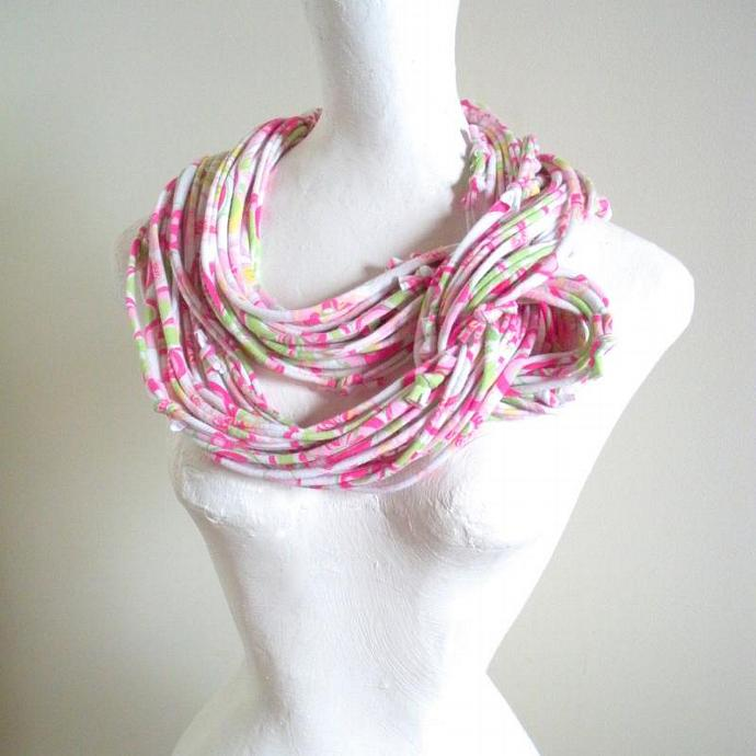 Pink Infinity Scarf Upcycled Pastel Circle Scarf Fall Fashion Pink Green