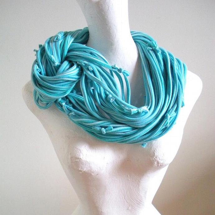 Tropical Blue Chunky Cowl Scarf Powder Blue Pastel Upcycled Clothing Turquoise