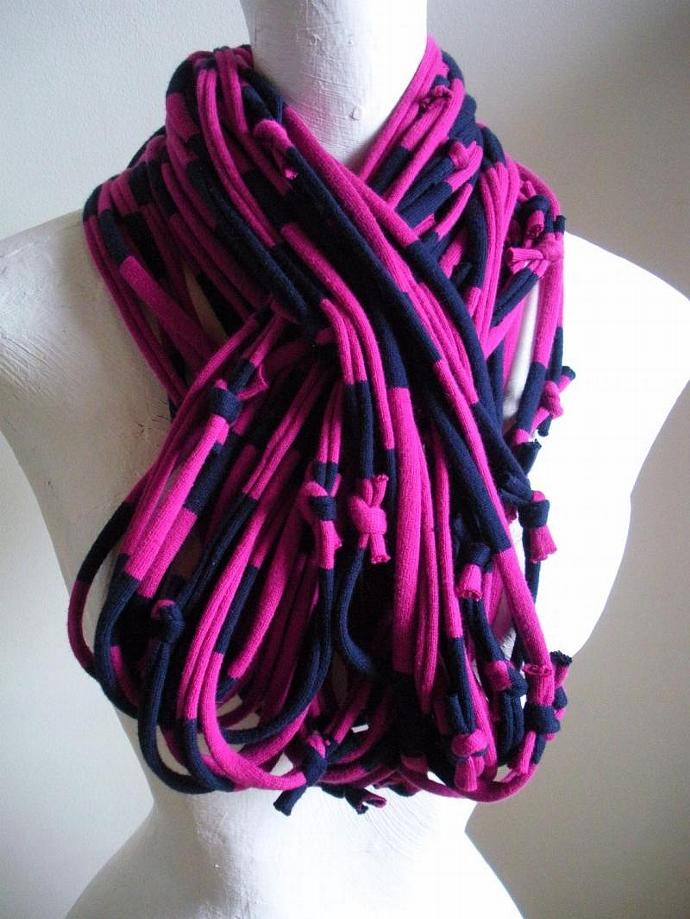 Handmade Chunky Magenta Navy Blue Infinity Scarf Raspberry Cowl Striped Hot Pink