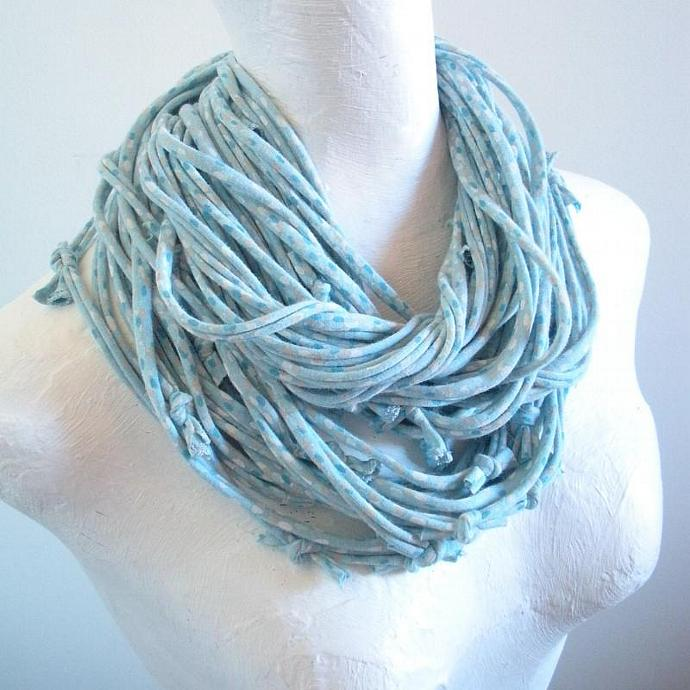 Dusk Blue Infinity Scarf Robin Egg Blue Powder Blue White Gray Dot Pattern