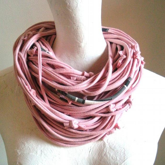 Feminine Pastel Pink Infinity Scarf Fall Fashion Upcycled Clothing Gray Black
