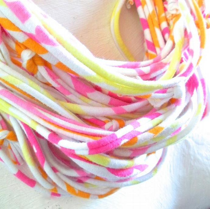 Citrus Pink Yellow Infinity Scarf Raspberry Lemon Zest Orange Bright Fashion