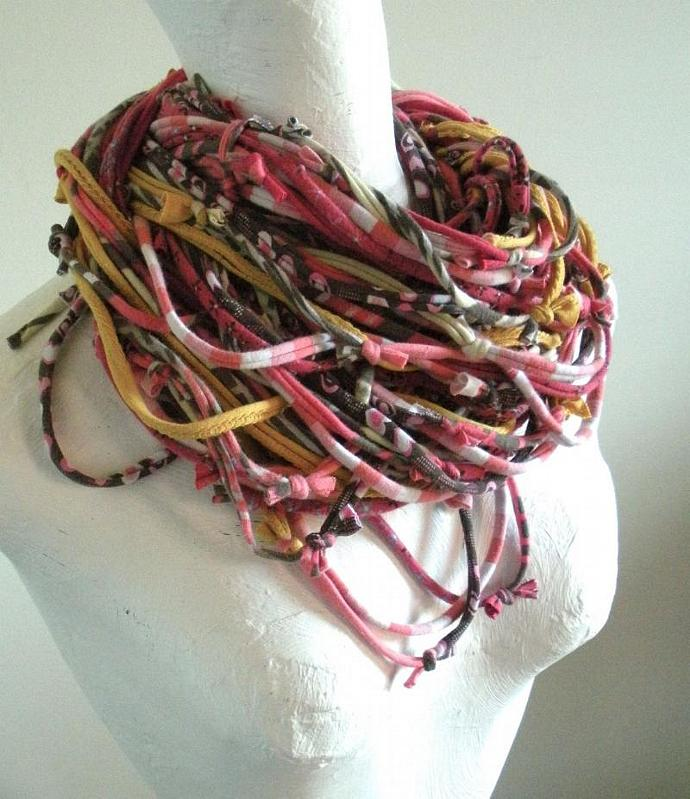 Infinity Scarf Rose Smoke Honey Gold Brown Art Scarf Upcycled Clothing Dusty