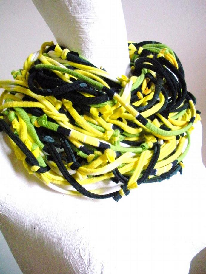 Infinity Scarf Chartreuse Gypsy Tribal Art Scarf Chunky Lime Green Navy Blue