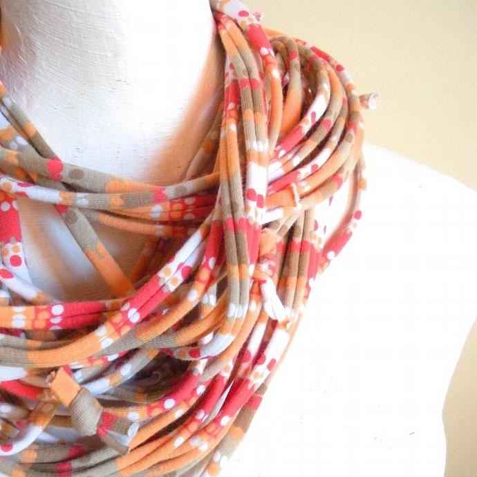 Skinny Koi Orange Tangerine Infinity Scarf Necklace Pantone Fall Fashion Color