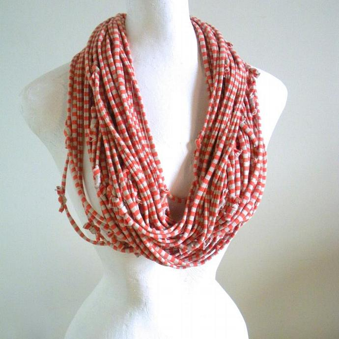 Candy Striped Infinity Scarf Koi Orange Pantone Fall Fashion Color Pinstripes