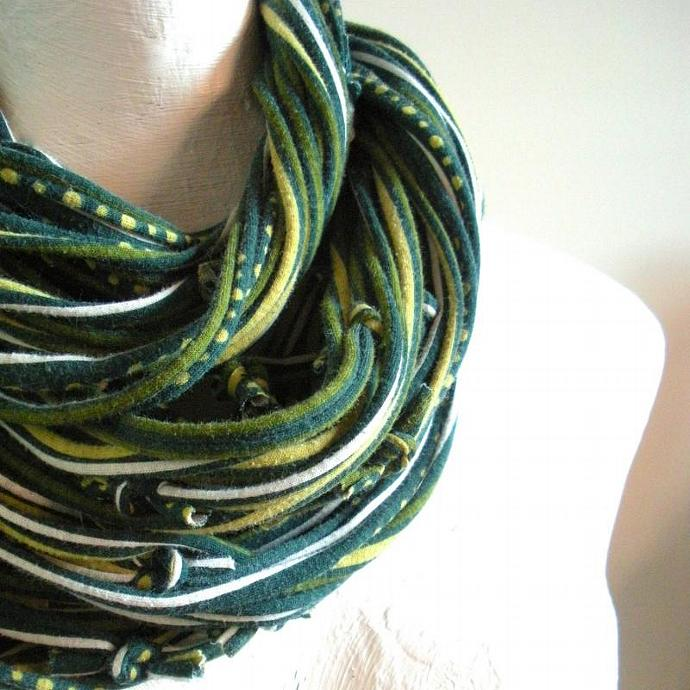 Upcycled Forest Green Circle Scarf Infinity Scarf Tribal Gypsy Chunky Cowl Scarf