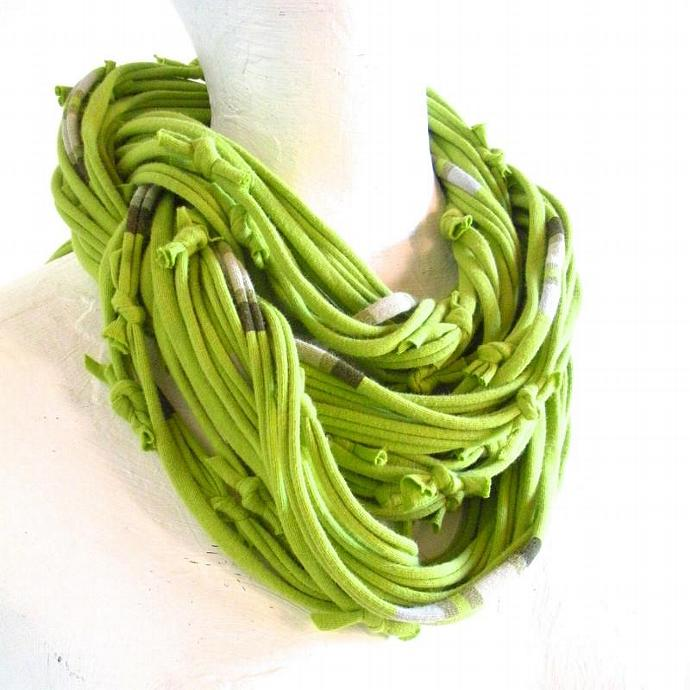Fall Fashion Chartreuse Circle Scarf Green Infinity Scarf Cream Gray Stripes