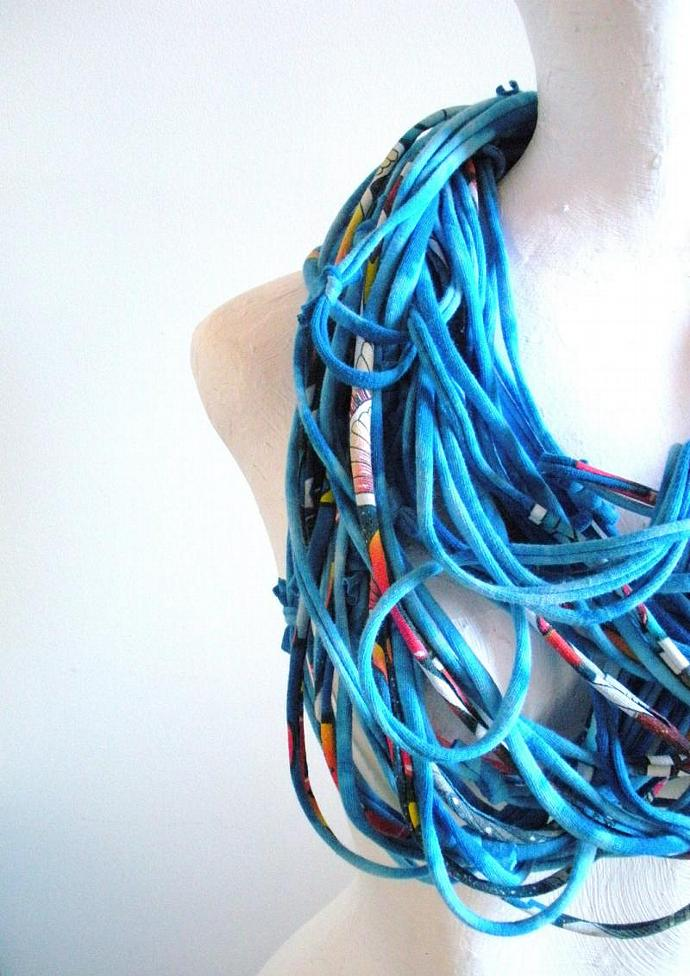 Hand Dyed Cobalt Blue Infinity Scarf Electric Blue Chunky Cowl Scarf Multicolor