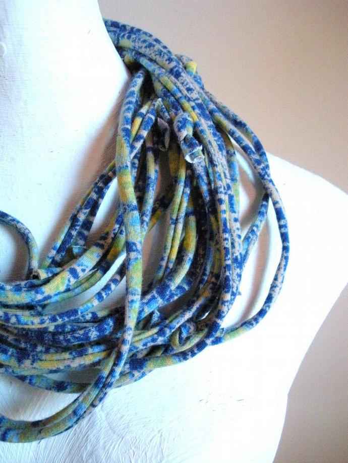 Infinity Scarf Mykonos Blue Necklace Pantone Fall Fashion Color Repurposed