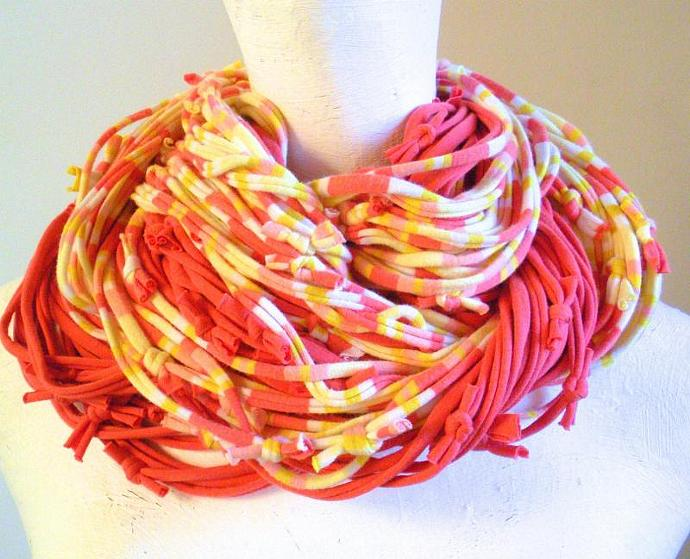 Tangerine Lemon Zest Infinity Scarf Yellow Orange Peach Stripes Cowl Scarf Eco