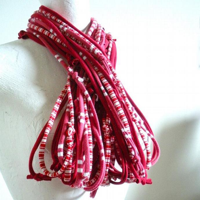 Samba Red Infinity Scarf White Nautical Stripes Crimson Repurposed Clothing