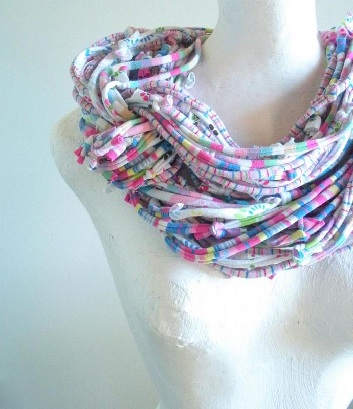 Pastel Infinity Scarf Carnival Colors Fall Fashion Winter Accessories Upcycled
