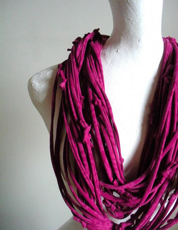 Women's Raspberry Magenta Scarf Repurposed Clothing Infinity Scarf Eco Fashion