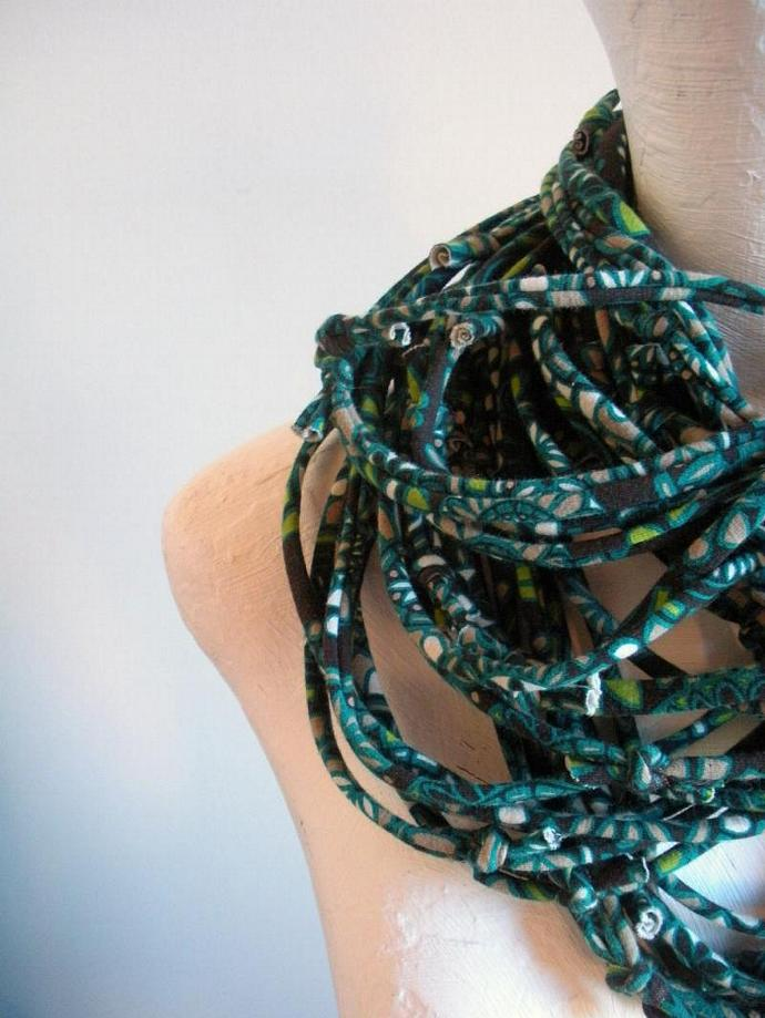 Womens Carafe Brown and Teal Infinity Scarf Pantone Fall Fashion Color Upcycled