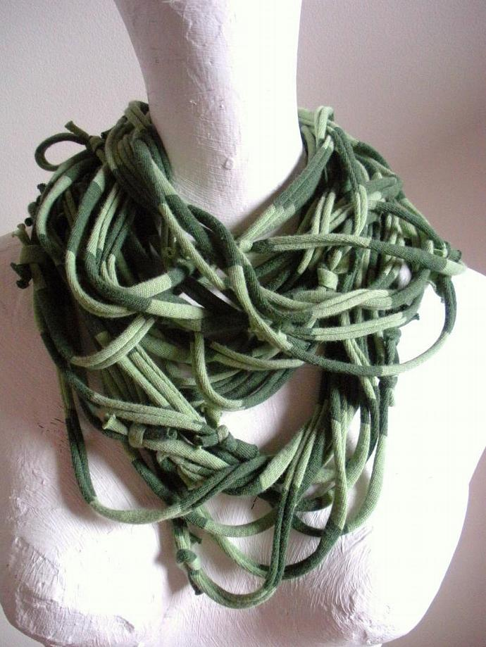 Green Striped Infinity Scarf Necklace Light Green Hunter Green Circle Scarf
