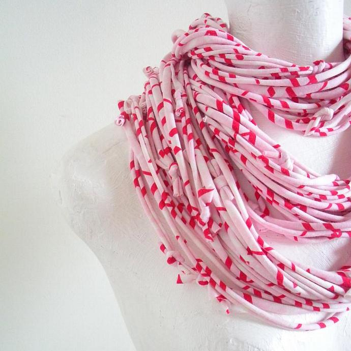 Winter Pastel Pink Infinity Scarf Red White Geometric Stripes Fall Fashion