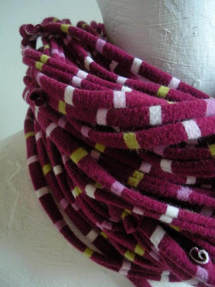 Infinity Scarf Beaujolais Eco Friendly Pantone Fall Fashion Plum Stripe Circle