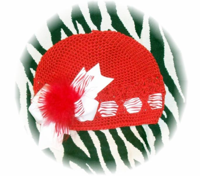 Crocheted Beanie Cap / Marabou Bow Red / Zebra FREE SHIPPING