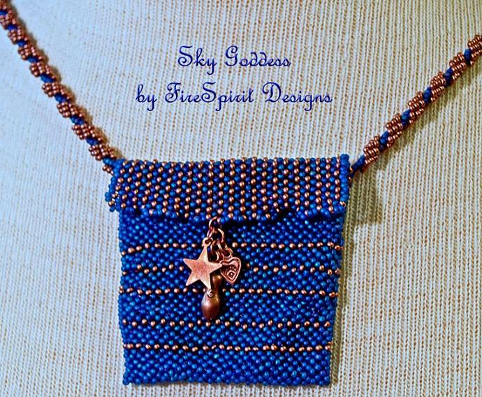 Sky Goddess Amulet Necklace- ooak artisan beadwork