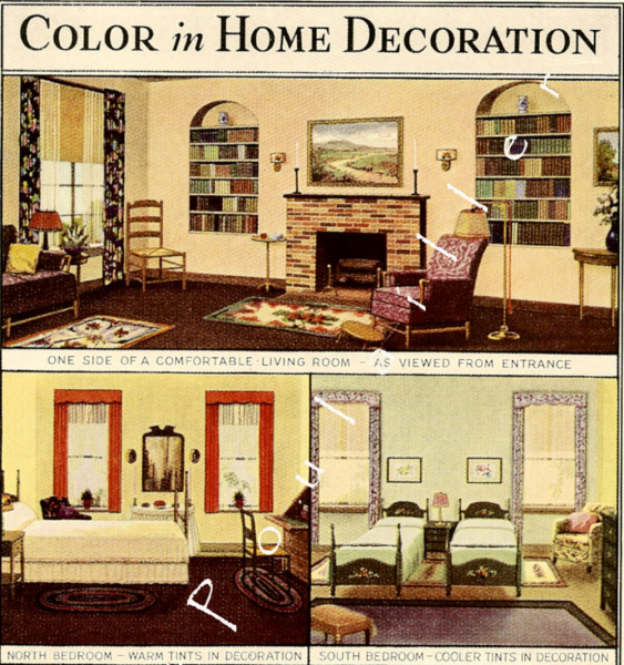 Interior Decorating 1935 Antique Will Haenel How-To Lithograph
