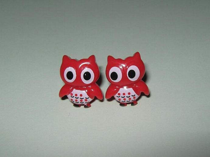 Cute Little Red Owl Earrings