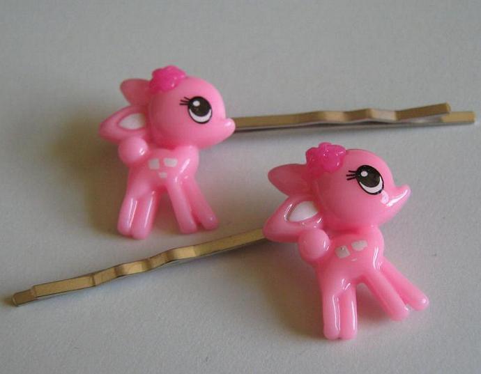 2 Light Pink Baby Deer  Bobby Pins