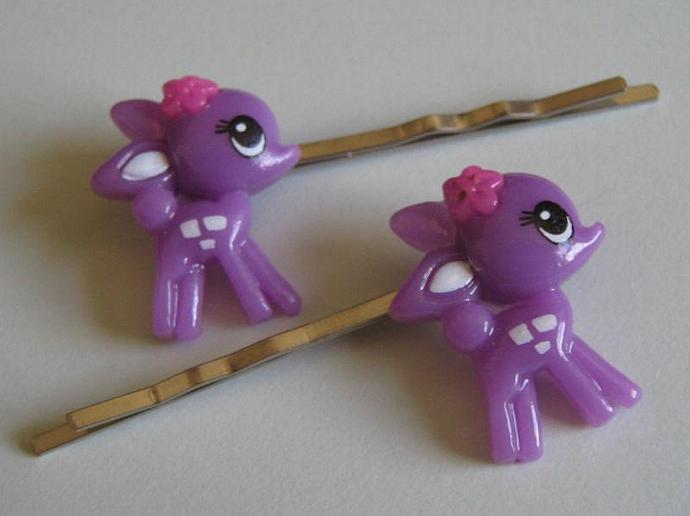 2 Purple  Baby Deer  Bobby Pins