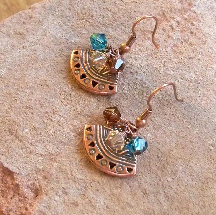 Copper  Crystal Earrings