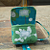 Camera Case Wristlet in Green Turquoise and White