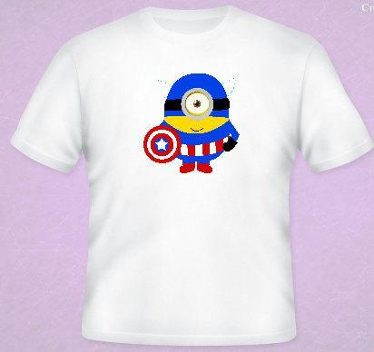Captain America  Minion Tee All Sizes Free Name Included Free name included