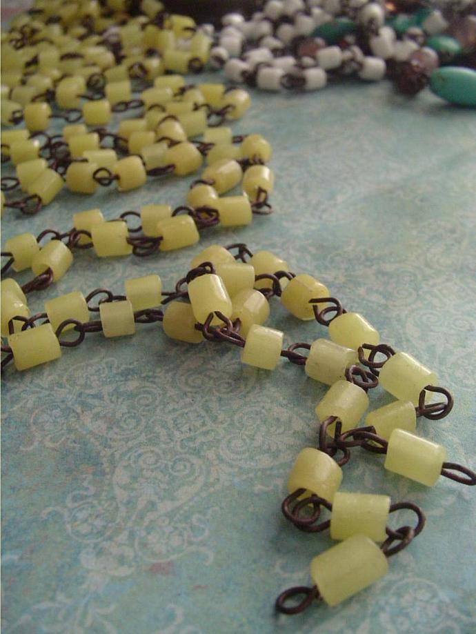 Vintage 1920s ItaliaN YeLLoW OpaLine  MaCaroni Glass Beaded Chandelier Chain